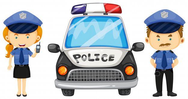 Zwei Polizisten Durch Das Polizeiauto Polizeiautos Polizei