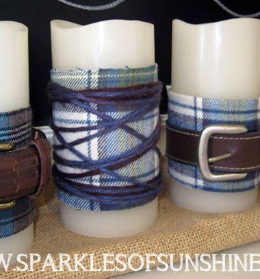 DIY Belted flanel candles for fall // Oszlopgyertya dekoráció flanel ingből és régi rossz övekből // Mindy - craft & DIY tutorial collection