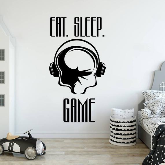 Game decal, gamer wall sticker, eat sleep game decal, video game decal, teen boy room decor, gamer g
