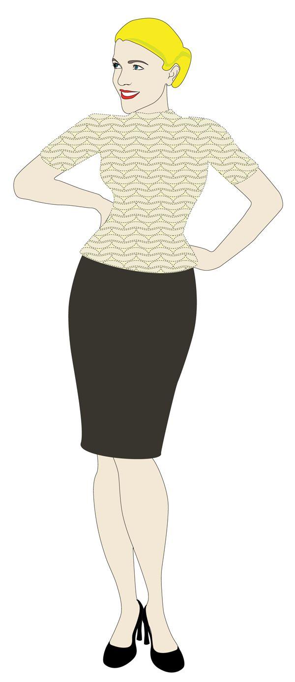 heges visuelle design: paper doll Hege wearing vintage knitting