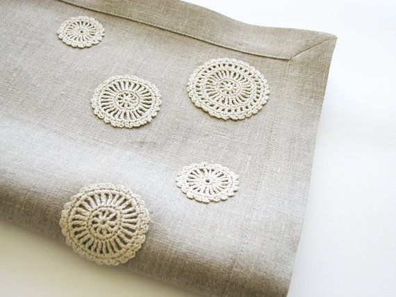 Linen table runner natural gray color decorated with by daiktuteka,