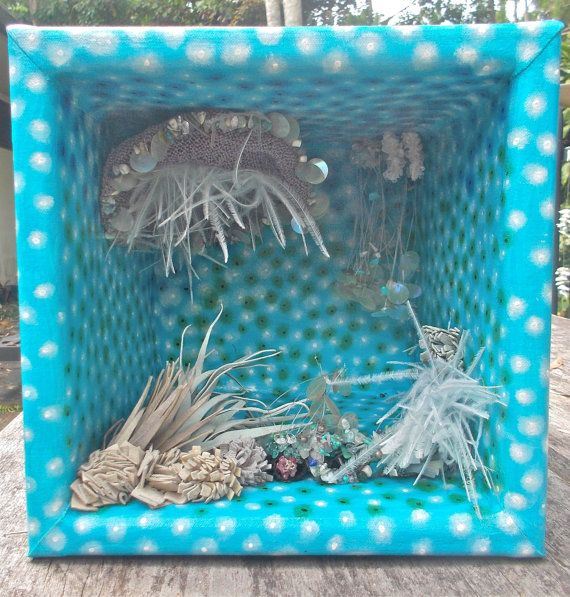 My Coral Garden Mixed Media 3D Wall Art with jewelled coral http://www.stephaniejmilne.com