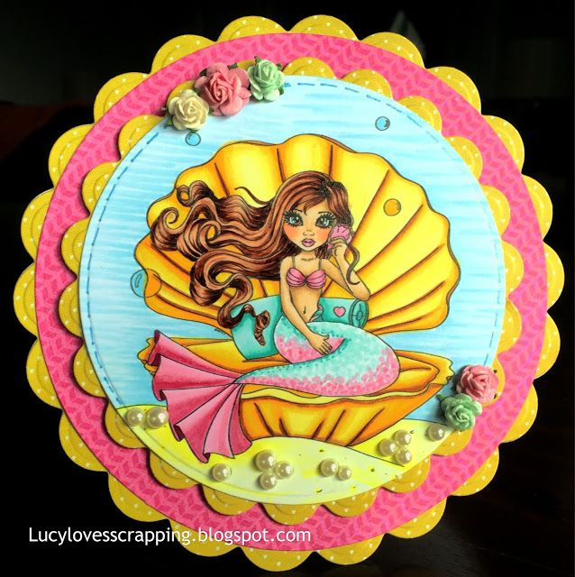 Lucy loves scrapping: Cute as a Button CAAB mermaid girl digital stamp, hand colored with Copic markers, handmade cute girly circular shaped card