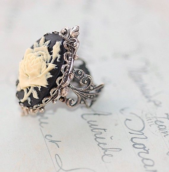 Gothic Rose Cameo Antiqued Silver Ring