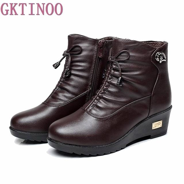 Special price New 2017 women boots women leather winter boots warm plush autumn boots winter wedge shoes woman ankle boots just only $25.56 with free shipping worldwide  #womenshoes Plese click on picture to see our special price for you