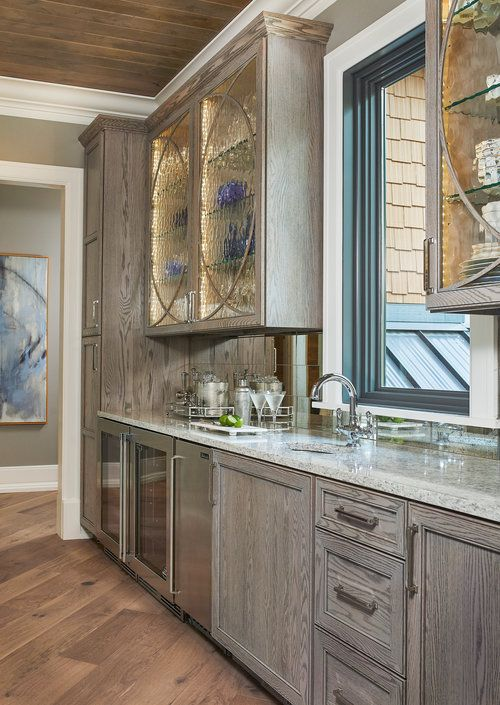 Gray Stained Red Oak Cabinetry Glass Front Cabinets Wet