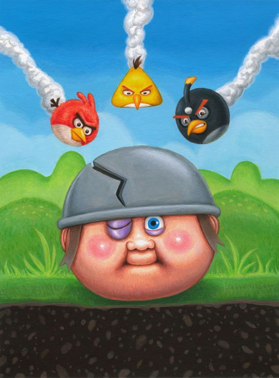 GPK Angry Birds Mash Up AL Birdbrain BRUCE Painted In Acrylics Garbage Pail Kids Brand New Series 1 Illustrator Layron DeJarnette Concep