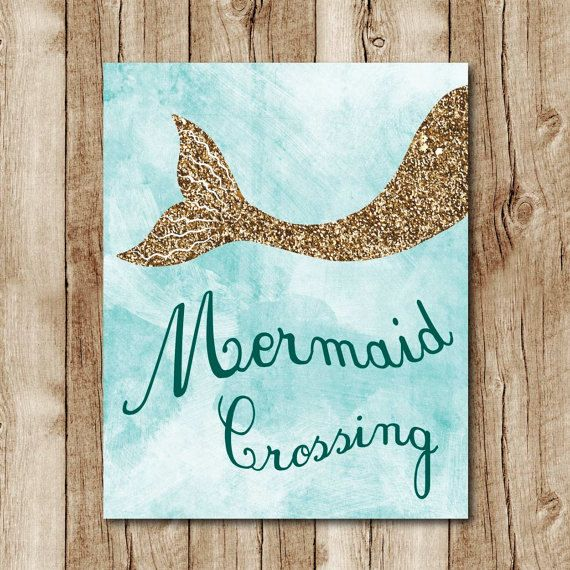 mermaid printable, gold glitter wall art, mermaid poster, light blue wall decor, ocean nursery, girls room decor, digital INSTANT DOWNLOAD by SunnyRainFactory on Etsy