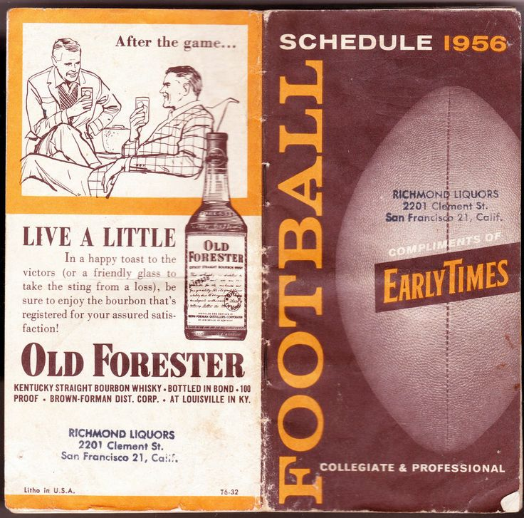 VINTAGE 1956 EARLY TIMES BOURBON COLLEGIATE AND NFL FOOTBALL SCHEDULE FREE SHIP