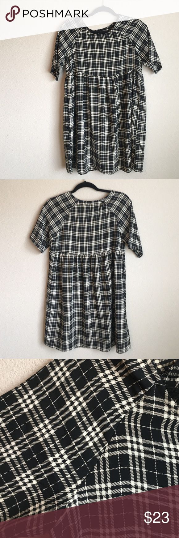 Selling this Checkered Print Babydoll-style Dress - S on Poshmark! My username is: gealg. #shopmycloset #poshmark #fashion #shopping #style #forsale #Audrey #Dresses & Skirts