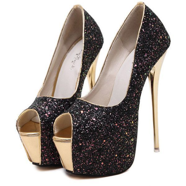 Black Glitter Peep Toe Platform Stiletto High Heel Pumps #BlackGlitter