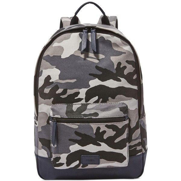 Fossil Men's Estate Camo Backpack ($98) ❤ liked on Polyvore featuring men's fashion, men's bags, men's backpacks, grey multi camo and mens backpack