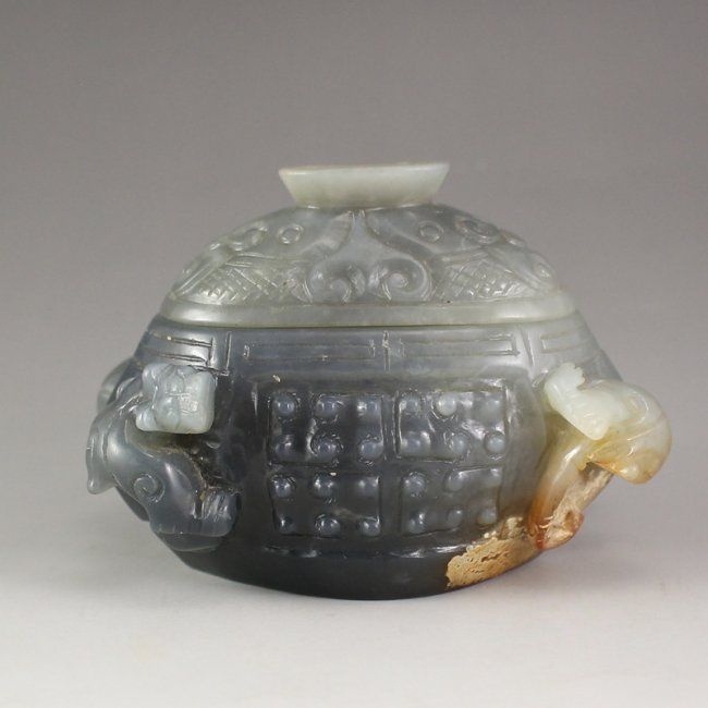 Vintage Chinese Jade Chi Dragon Incense Burner