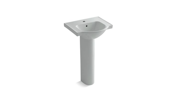 Ideal for smaller bathrooms, the K-5265-1 pedestal sink offers sleek, sophisticated style and ample deck space for toiletry items.