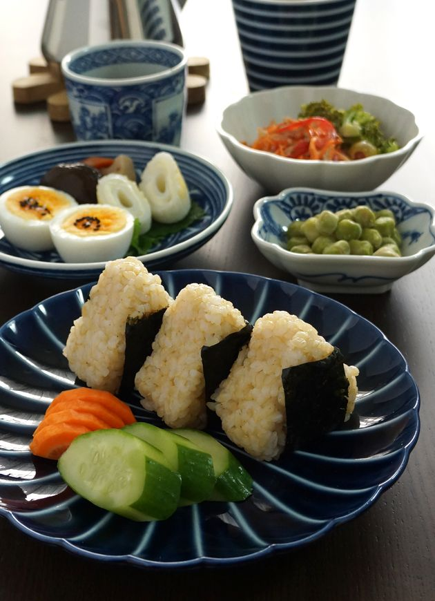 Photo: Japanese Breakfast (Brown-Rice Onigiri Balls, Pickles and Other Veggies) | Asagohan 朝ごはん