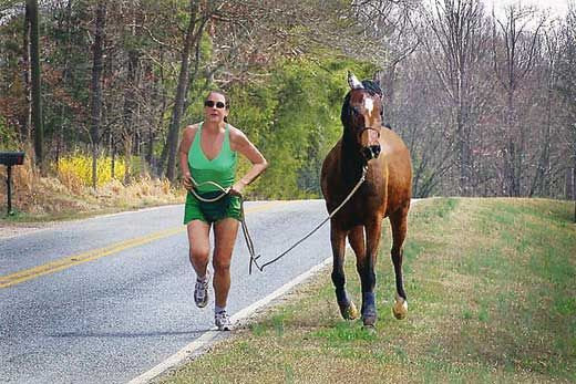 Rebecca Gimenez started walking and running with her horses a couple of years ago. She lost weight, got in shape, and picked up the pace. But you don't have to go fast to have fun, she says.