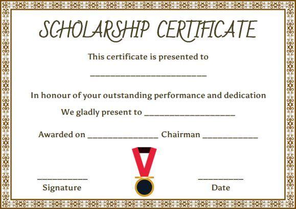 College Scholarship Certificate Template Certificate Templates Scholarships Certificate Design Template