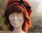 """chapeau, Bérêt """" PETIT PRIX """" orange et noir : Chapeau, bonnet par p-d-f-accessoires"""
