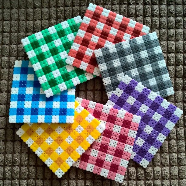 Gingham inspired coaster set hama beads by keirac_x