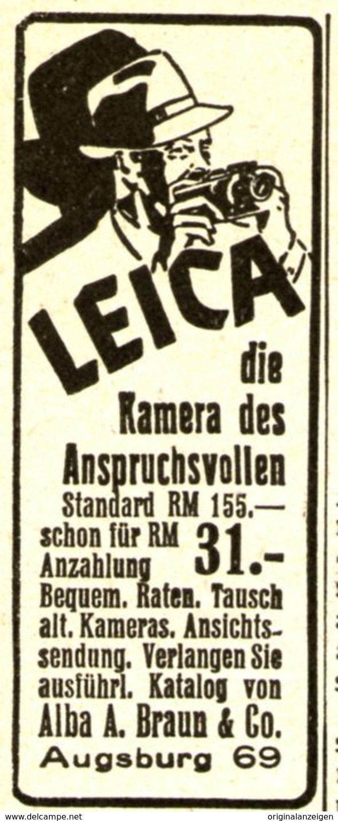Werbung - Original-Werbung/ Anzeige 1937 - LEICA KAMERA / ALBA A. BRAUN - AUGSBURG - ca. 25 x 55 mm