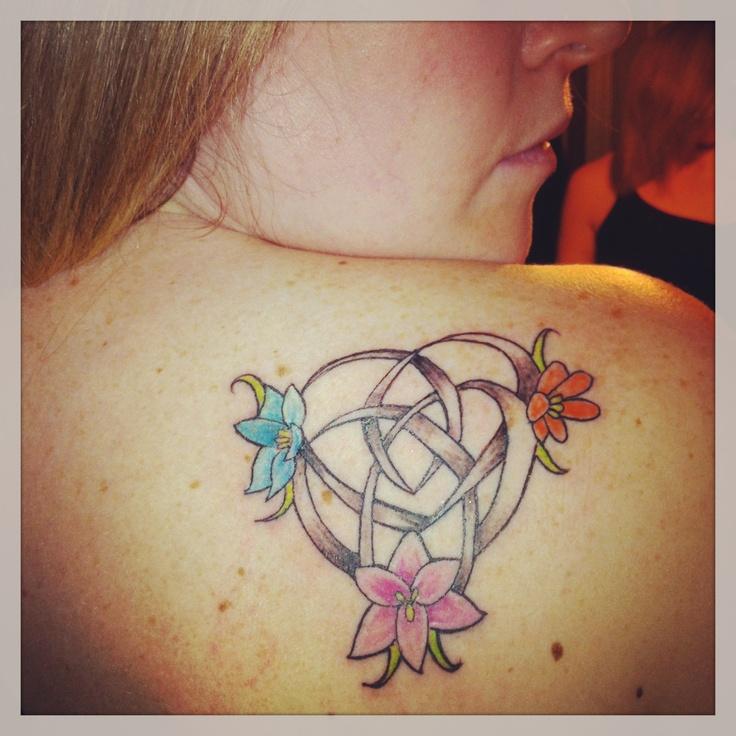 Scottish Tattoo Ideas Wrist: Celtic Motherhood Knot With My 3 Babies As Flowers.