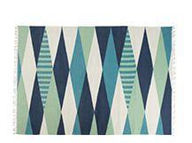 Braid flachgewebter Teppich 170 x 240 cm, Aqua- und Navyfarben