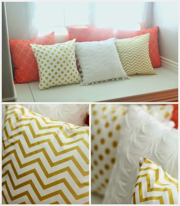 Such cute coral, gold and white pillows!