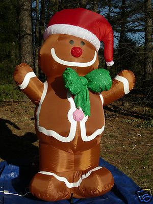 New Gemmy 7 Lighted Gingerbread Man Christmas Inflatable