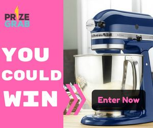 HUGE!! Get your entry in to win this Mixer! Enter now for a change to win a KitchenAid Artisan Mixer from PrizeGrab.Ends March 17, 2017 GET YOUR ENTRY IN HERE