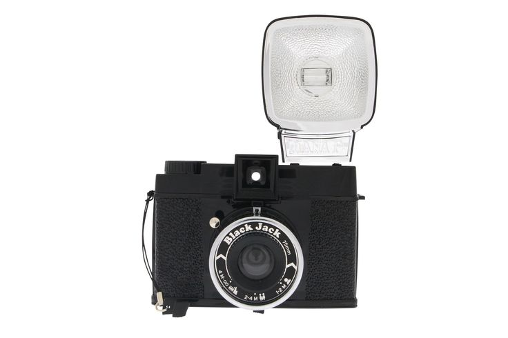 Super sleek in its all-black coat, the Diana F+ Black Jack takes dreamy, soft-focused shots on 120 film. This medium format camera also includes a flash.