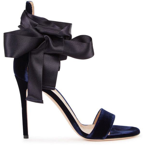 Gianvito Rossi Gala Navy Velvet Sandals - Size 3 ($795) ❤ liked on Polyvore featuring shoes, sandals, open toe sandals, navy blue high heel shoes, gianvito rossi shoes, navy shoes and high heel shoes