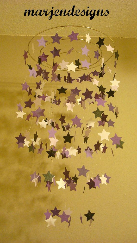 purple black and white star mobile nursery decor by marjendesigns, $45.00
