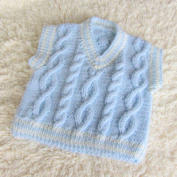 Hand Knit Aran Baby Vest by jayceeoriginals on Etsy, $20.00