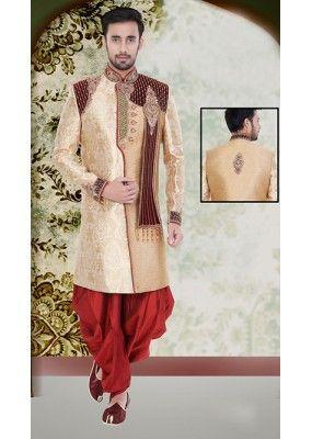 Wedding Wear Beige & Maroon Jute Sherwani - 75515