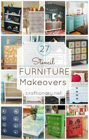I am sharing 27 top/ best stencil furniture makeovers using thrift store dressers, tables and more. Refresh furniture using paint, vinyl, spray paint tips. by Kathy15