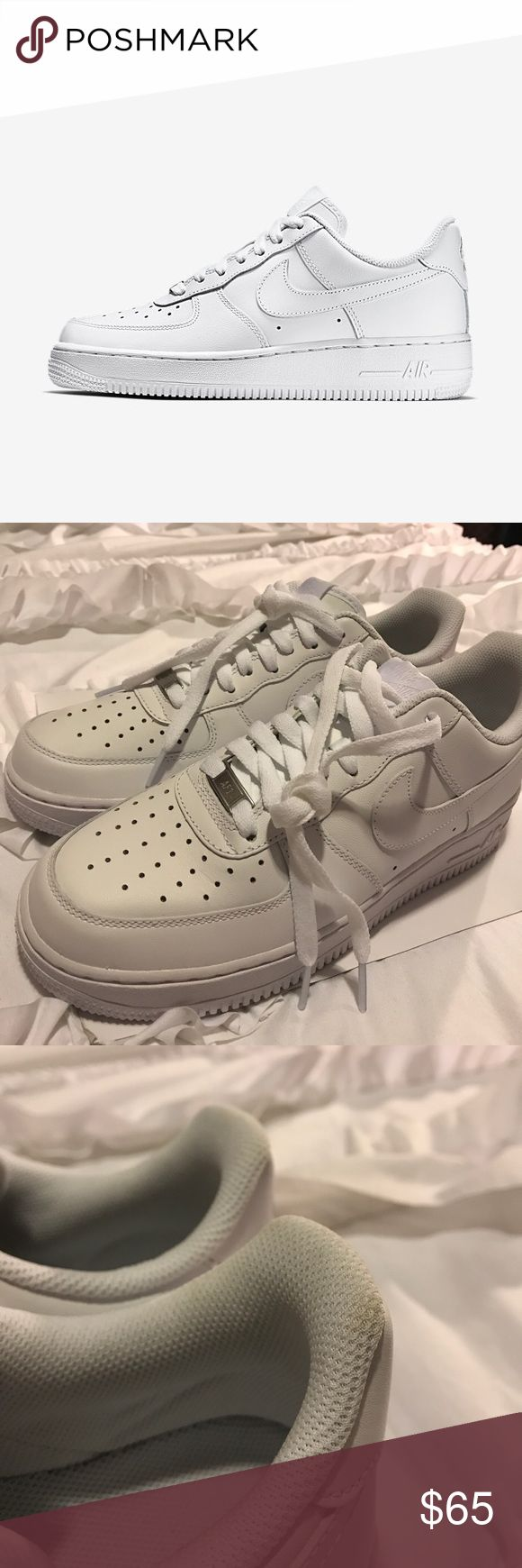 ♡ NIKE AIR FORCE 1 07 ♡ Brand new all white iconic and original staple! No flaws except for slight smudge show in last picture. Only worn for try on. Nike Shoes Athletic Shoes