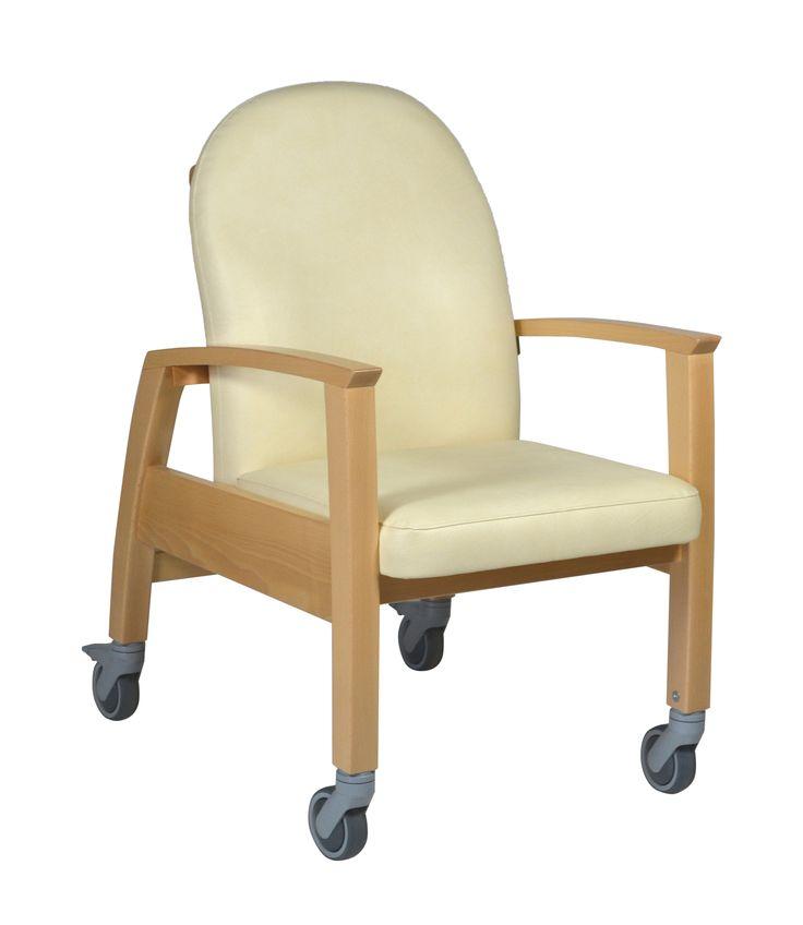devita stuhl mit rollen schiebegriff kunstleder beige pflegesessel wohnlich sessel pflege. Black Bedroom Furniture Sets. Home Design Ideas