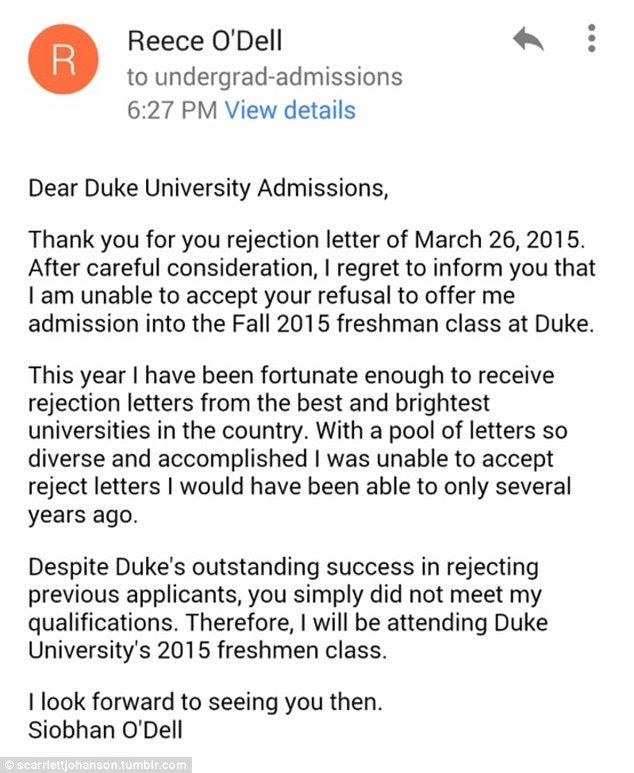 Teenu0027s rejection of a college rejection letter goes viral Duke - rejection letter