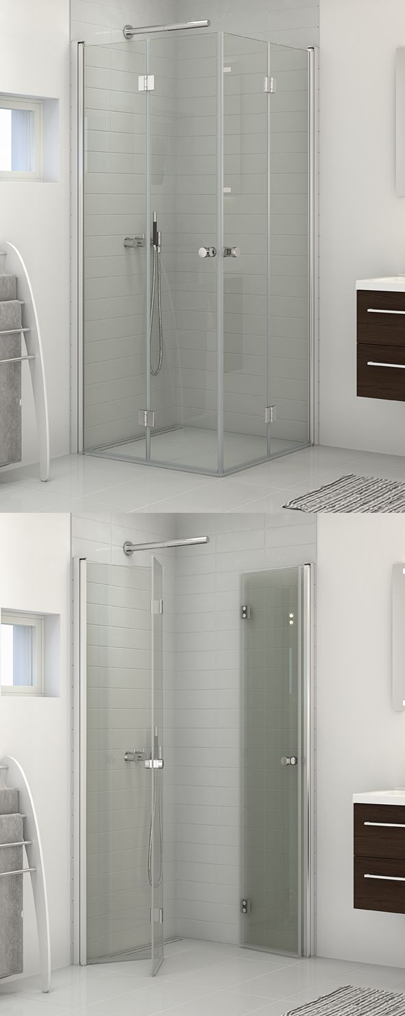 Shower enclosure with two bifold doors. Ideal for very small rooms where space is at a premium.