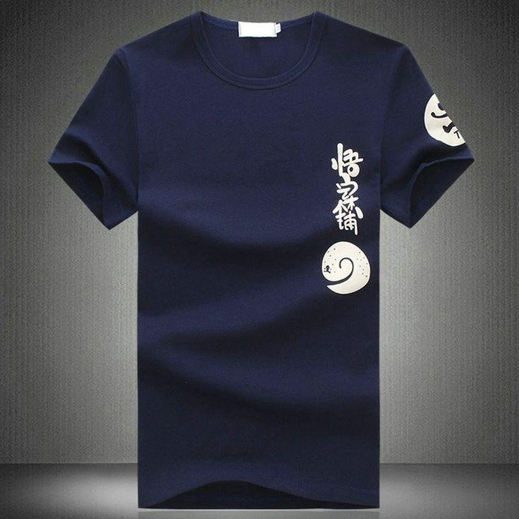 Chinese Style Navy Cotton Carton Print Round Collar T-shirt for Men - iDreamMart.com