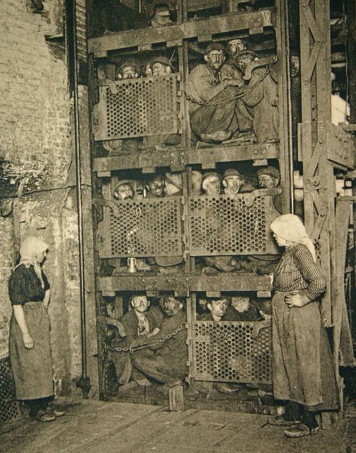 Crammed into a coal mine elevator, coming up after a day of work (Belgium) 1890