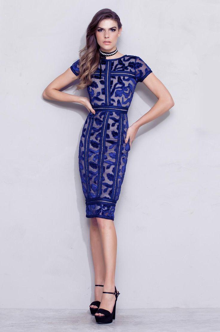 Vestido Midi Tela Veludo Azul » Vestidos