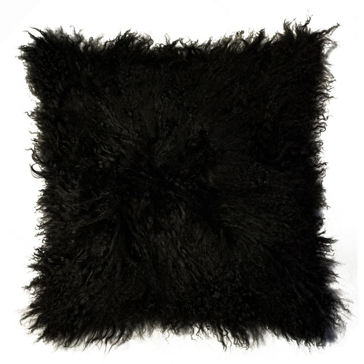 "NATURAL 18"" Mongolian Pillow in Black - Beyond the Rack"