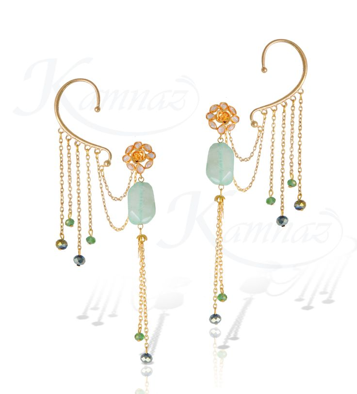 Elegant ear cuffs with natural stone earrings