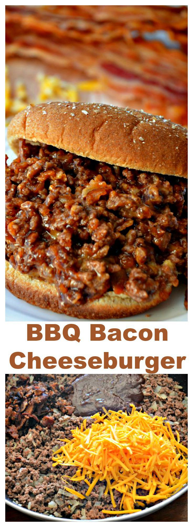 HOW TO MAKE BEST BBQ BACON CHEESEBURGERS - If you enjoy BBQ Bacon Cheeseburgers and the simplicity of a Sloppy Joe, you will love this BBQ Bacon Cheeseburger Sandwich  PRINT RECIPE HERE: http://recipesforourdailybread.com/bbq-bacon-cheeseburger-sandwich/