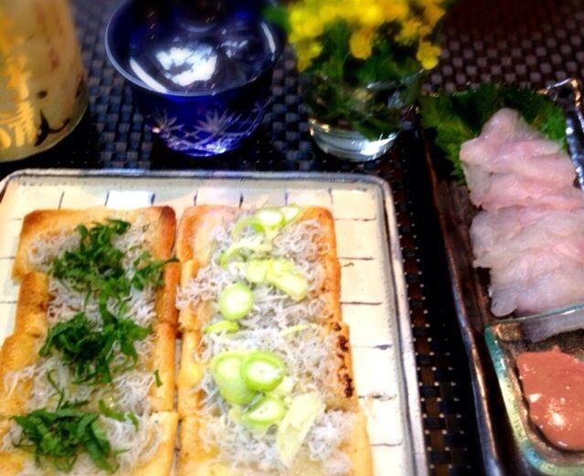 塩麹、醬油麹のかわりに、海苔の佃煮や甘辛味噌などにしてもいいですね(^-^)♪   友人に森以蔵をもらいました。 カワハギのお刺身も肝醬油で♡ - 90件のもぐもぐ - シラスの油揚げピザ by tomoko3626