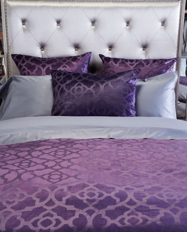 85 best images about beautiful bedding on pinterest for Purple and silver bedroom designs