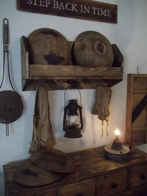 Early wooden primitive style double bowl rack box w/peg rack & 662 best Folk Art  I love the primitive look. images on Pinterest ...