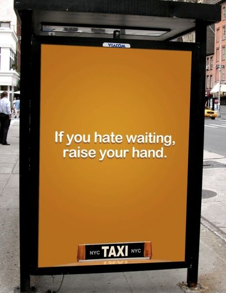 This taxi ad did a great job breaking through the clutter. They put an ad where their competitor thrives, on a bus stop. The ad is short but persuasive and gets the point across. The target is adults who live in urban areas and who do not own a vehicle. More specifically they are targeting people who take the bus. I found this ad to be very persuasive and simple at the same time.