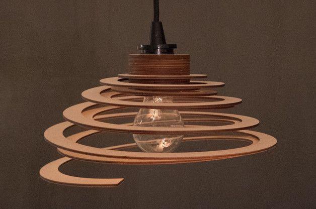 Spirallampe aus Holz! - Absolut nachhaltig - https://de.dawanda.com/product/114542967-lampenschirm-spirale-aus-holz
